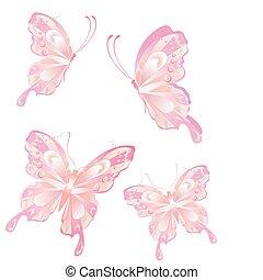 borboleta, voando, arte