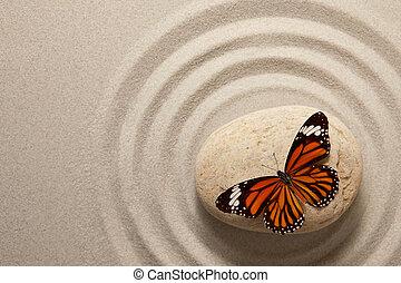 borboleta, zen, rocha
