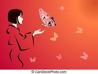 borboletas, alimentação, japoneses, geisha