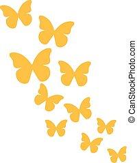 borboletas, amarela