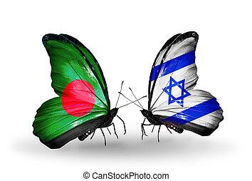 borboletas, bandeiras, dois
