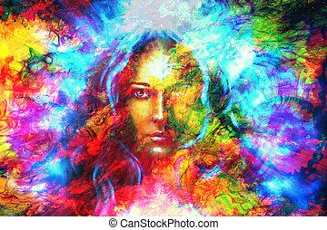 borboletas, cor olho, místico, collage., rosto, fundo,...