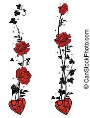 borboletas, coração, divisores, rosas, hera