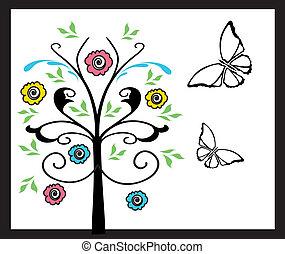 borboletas, flores, árvore