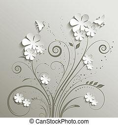 borboletas, flores