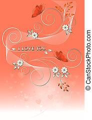 borboletas, flores, t, cartão