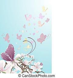 borboletas, fundo, ilustração