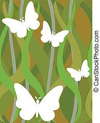 borboletas, ligado, seamless, verde escuro, padrão ondulado