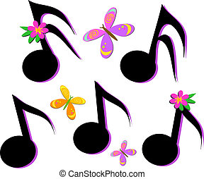 borboletas, musical, flo, notas