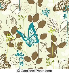borboletas, padrão, folhas, seamless, retro