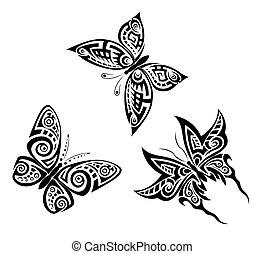 borboletas, pretas, tribal, jogo, tatuagem, branca