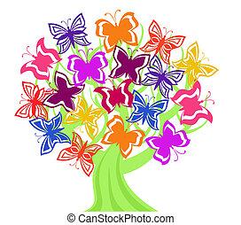 borboletas, vetorial, árvore, ilustração
