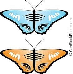 borboletas, vetorial, colorido