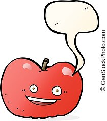 borbulho fala, caricatura, maçã