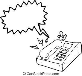 borbulho fala, caricatura, telefone escritório