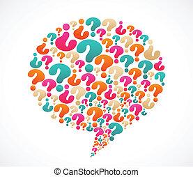 borbulho fala, com, marca pergunta, ícones