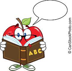 borbulho fala, maçã, professor