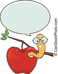 borbulho fala, maçã, verme