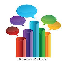 borbulho fala, negócio, gráfico, illust