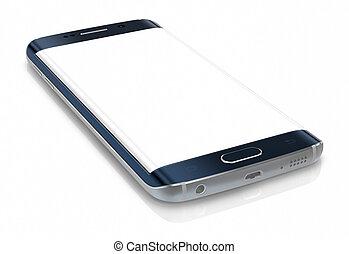bord, écran, smartphone, vide