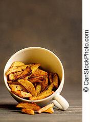 bord, ポテト, 白, 木製である, 揚げられている, カップ