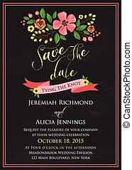 bord, bloem, uitnodiging