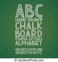 bord, chalkboard, krijt, hand, trekken, doodle, alfabet,...