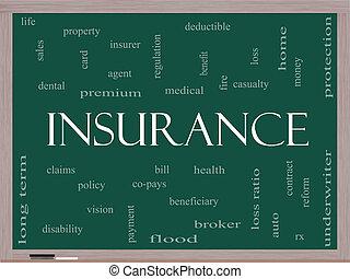 bord, concept, woord, verzekering, wolk
