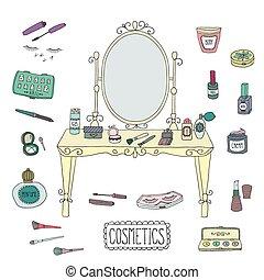 bord, fåfänga, makeup., spegel