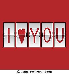 bord, flip, illustration, vektor, ?love?, panel, ord