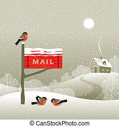bord, forêt, boîte lettres