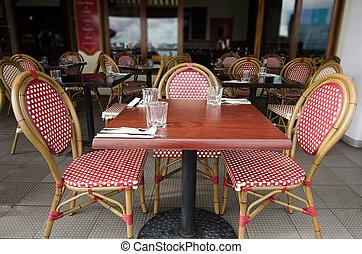 bord, frilufts restaurang
