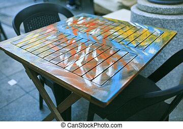 bord, gata, färgad, restaurang