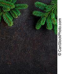 bord, gran, svart, grenverk, bakgrund, copyspace, jul
