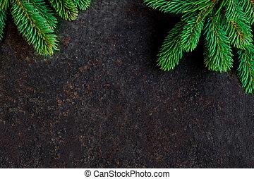 bord, gran, svart, grenverk, bakgrund, sten, copyspace, jul