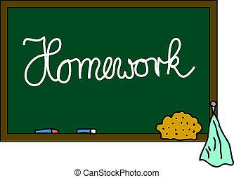 bord, huiswerk