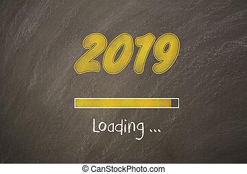 bord, jaar oud, nieuw, 2019