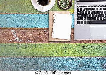 bord, laptopdator, ämbete skrivbord