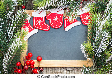 bord, leeg, ingelijst, in, mooi, kerstboom, takken, en, decorations., winter, feestdagen, concept., de ruimte van het exemplaar, voor, jouw, tekst