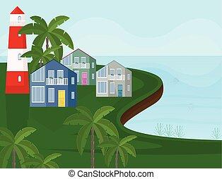bord mer, arrière-plans, arbres, côte, vecteur, paume, mer, vue.