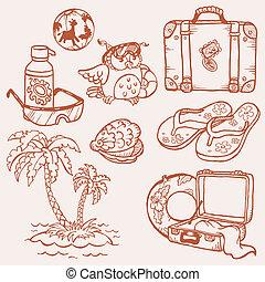 bord mer, -, collection, main, vecteur, doodles, dessiné