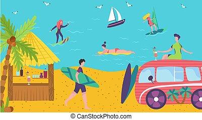 bord mer, illustration, océan, cocktails, barre, été, gens, plage, bungalow, vacances, surfer, vecteur
