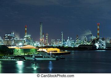 bord mer, industriel, usine, fonctionnement, nuit