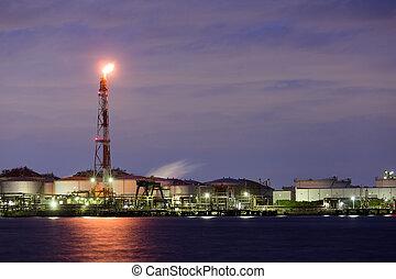 bord mer, industriel, usine, nuit