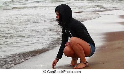 bord mer, pluvieux, femme, jour