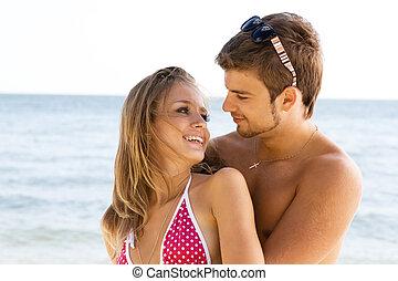 bord mer, romantique coupler