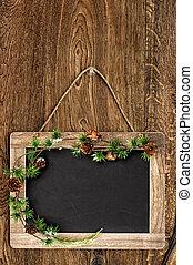 bord, met, kerstboom, tak, versiering