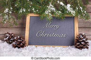 bord, met, zalige kerst, tekst