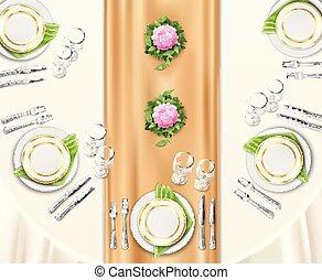 bord, middag, sätta upp