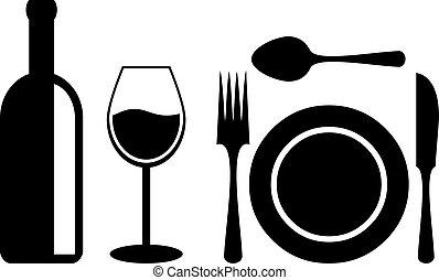 bord, middag, tillbehör